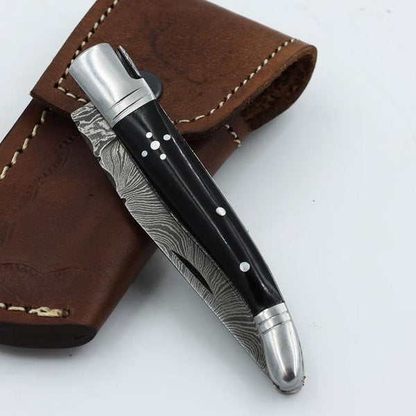 BETTY Handmade Damascus steel pocket knife with buffalo horn handle and stainless steel bolsters