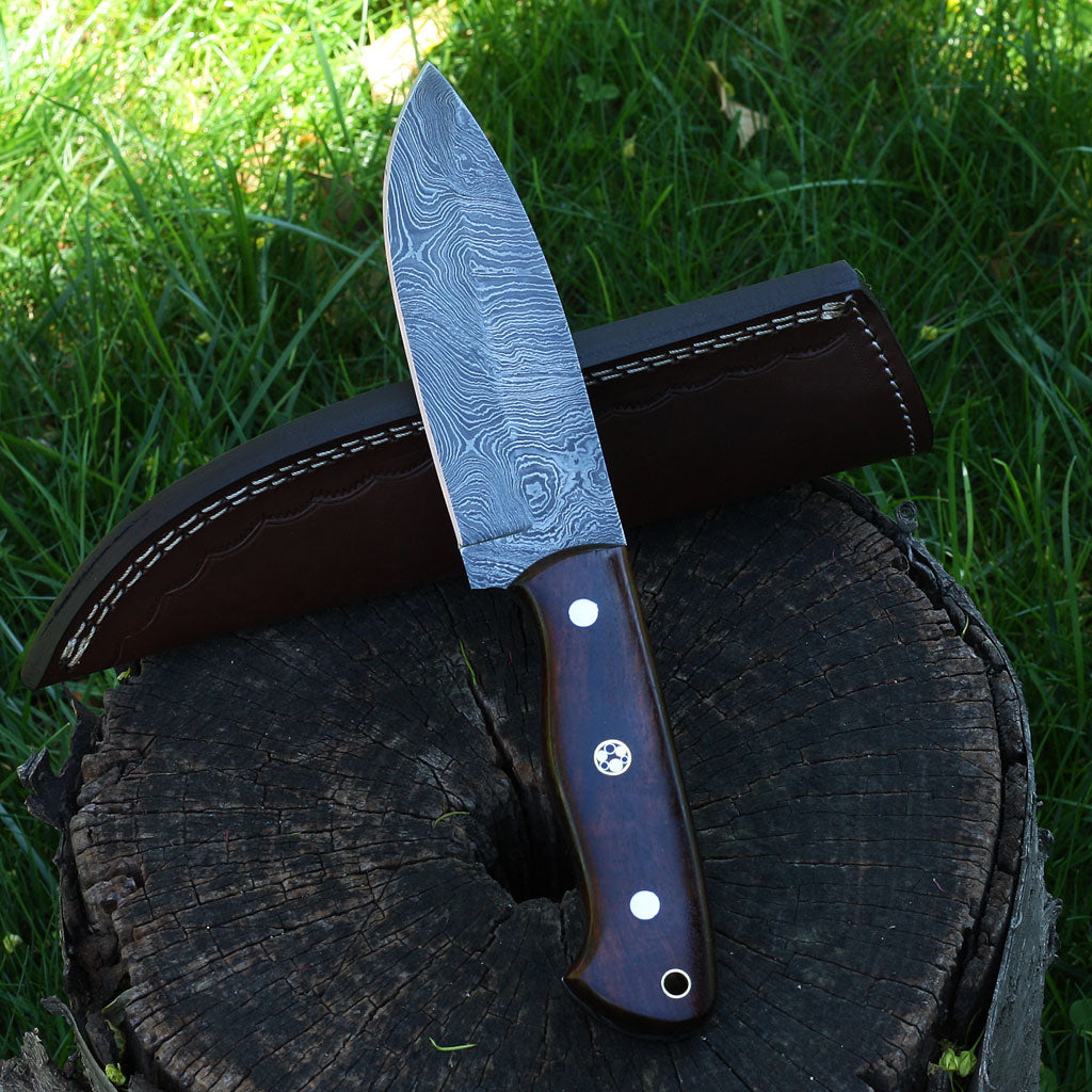 BRANDY Handmade Damascus steel hunting knife with rosewood handle