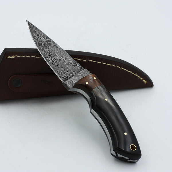BRIA Handmade Double-edged Damascus steel fixed blade knife with a buffalo horn handle and rosewood bolster