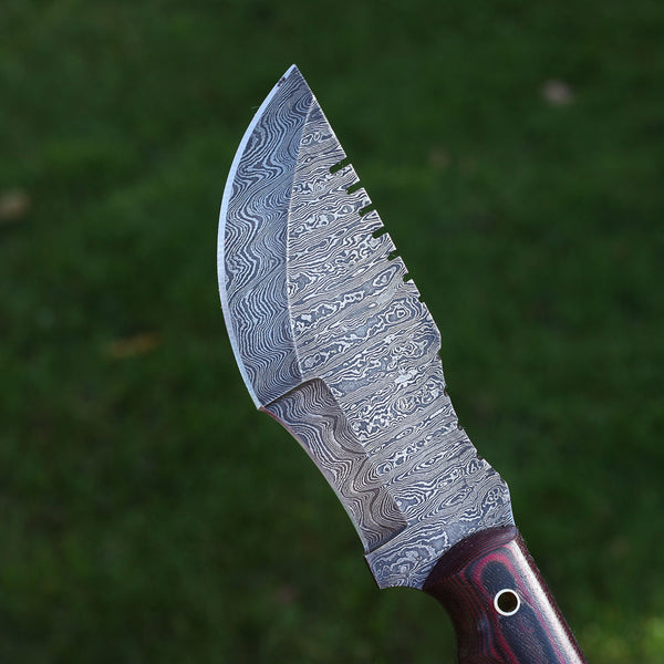 BRIANNA Handmade Damascus steel tracker knife with micarta handle