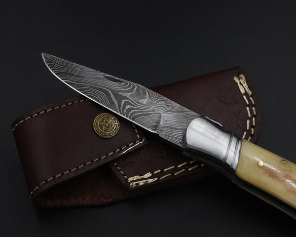 BLANCHE Handmade Damascus Pocket Knife (with Genuine Leather Sheath)