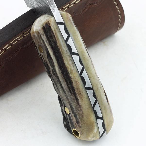 CAMDEN Handmade Mini Damascus steel hunting knife with stag horn handle