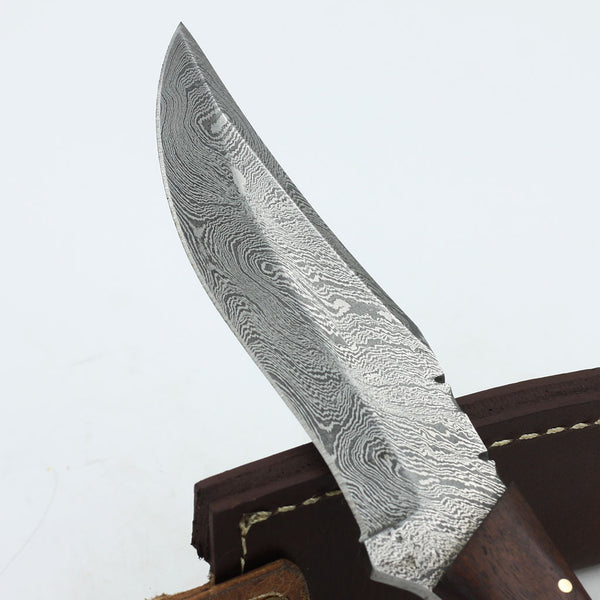 CANDICE Custom Handmade Damascus steel hunting knife with colored bone and rosewood handle