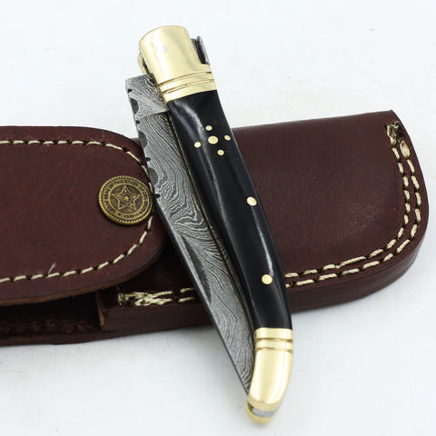 CARLIE Handmade Damascus Steel Folding knife with buffalo horn handle and brass bolsters