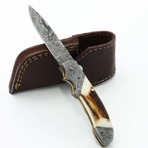 CAROLEE Handmade Stag Horn and Damascus steel pocket knife