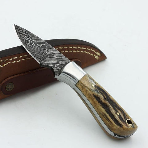 CATALINA Handmade Damascus steel fixed blade knife with a stag horn handle and stainless steel bolster
