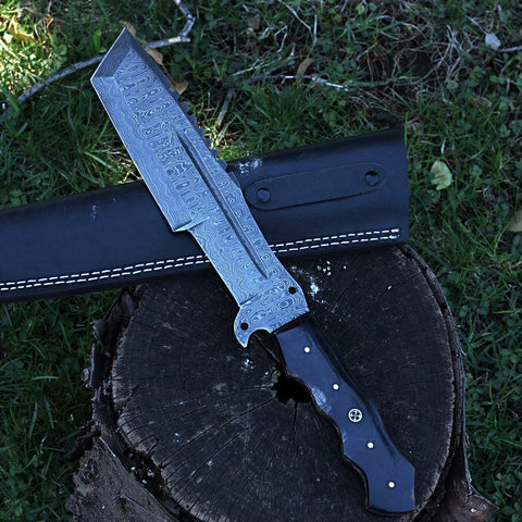 Handmade Damascus steel bowie tracker knife Jackson Blades Charlotte buffalo horn outdoors