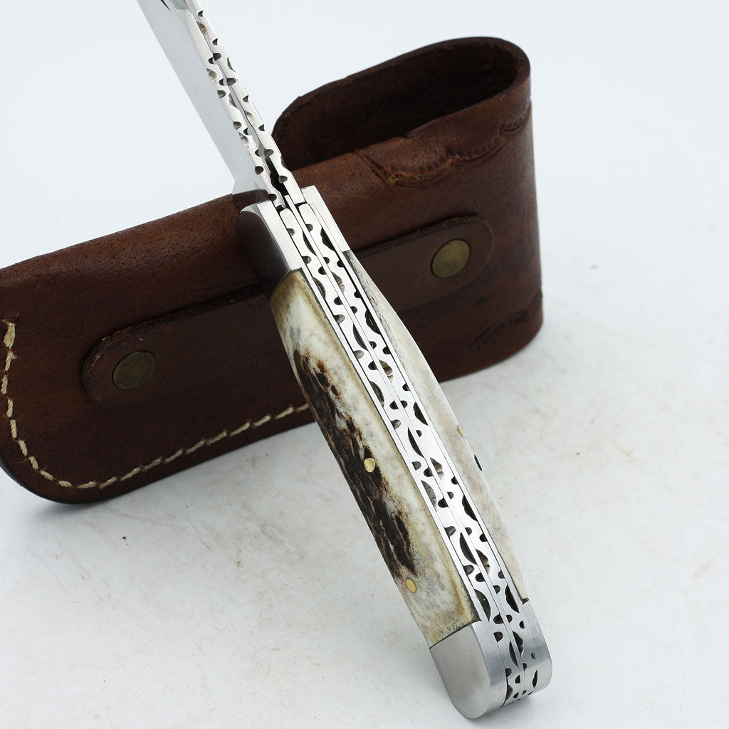 CHIA Handmade Trapper Knife with stag horn and two D2 steel blades