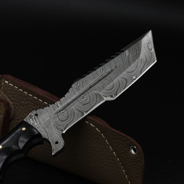 Handmade Damascus Steel Tracker Fixed Knife Blade G-10 Hunting Outdoor Knives Full Tang