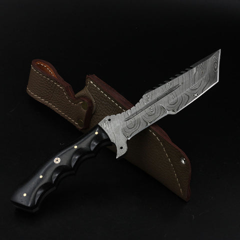 CONSTANCE Handmade Damascus Tracker Knife (with Genuine Leather Sheath)