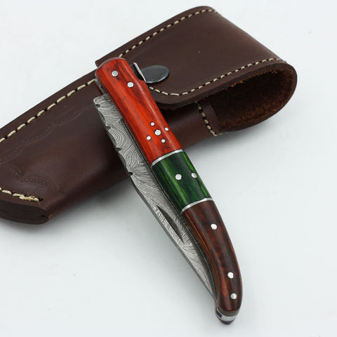 CORA Handmade Damascus steel folding knife with olive wood handle