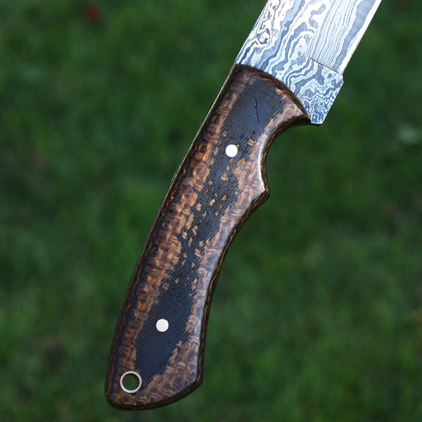 COURTNEY Handmade Damascus steel hunting knife with micarta handle
