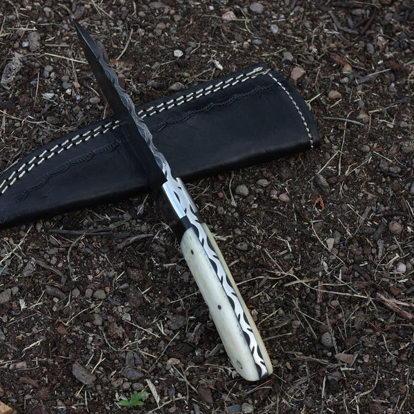 CORDELIA Handmade Hunting Knife (with Genuine Leather Sheath)