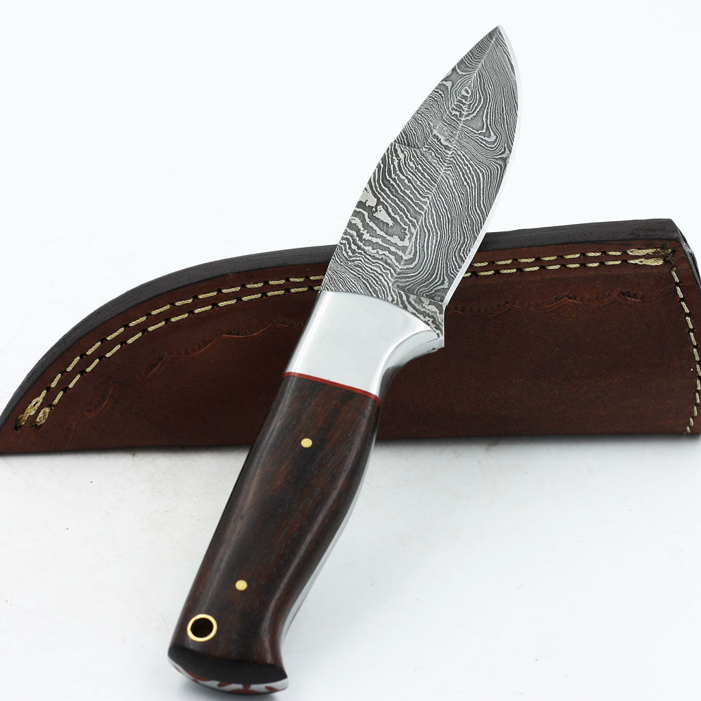 DANA Handmade Damascus steel hunting knife with rosewood and steel bolster