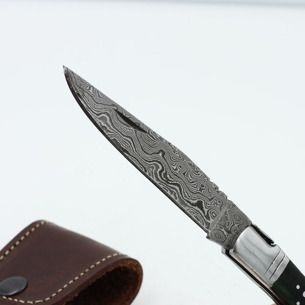 DANICA Handmade Damascus Steel corkscrew knife with green olive wood handle