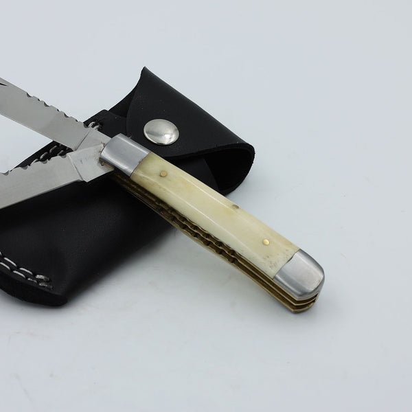 DELTA D2 stainless steel trapper knife with bone handle