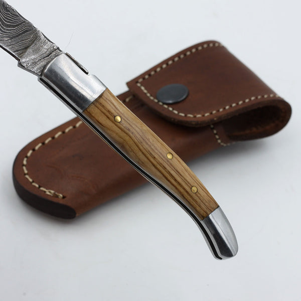 DOTTIE Handmade Damascus steel pocket knife with olive wood handle and stainless steel bolsters