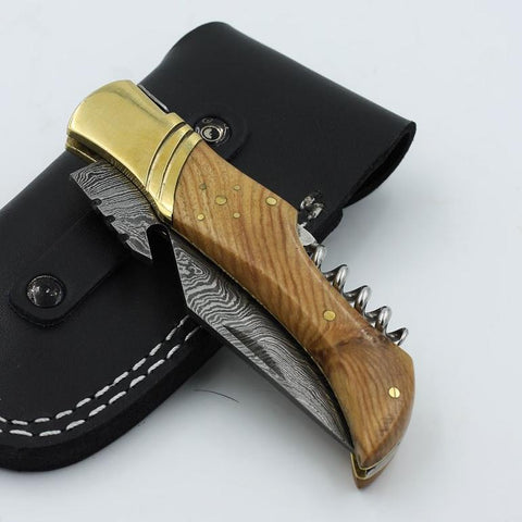 EDIE Corkscrew Knife with Bottle Opener (Leather Sheath Included)