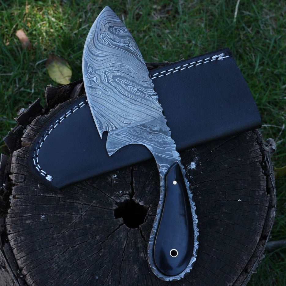 handmade damascus steel skinning knife outdoor skinner fixed blade buffalo horn knife by jackson blades
