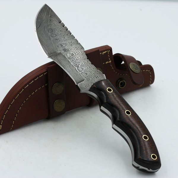 ELLEN Handmade Damascus steel tracker knife with micarta handle
