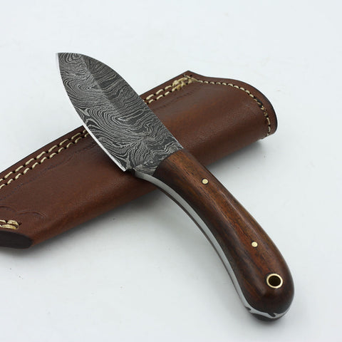 EMILIA Handmade Damascus steel fixed blade knife with rosewood handle
