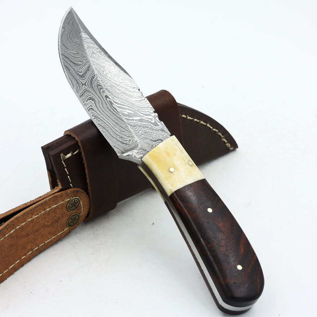 ERICA Custom handmade Damascus steel hunting knife with rosewood and bone handle