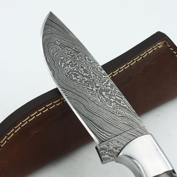 EVELYN Handmade Damascus steel hunting knife with horn handle
