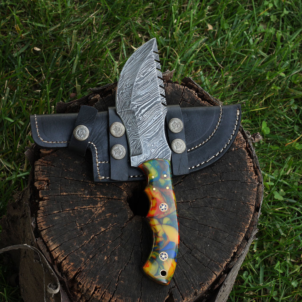 FIONA Handmade Damascus steel tracker knife with colored camel bone handle