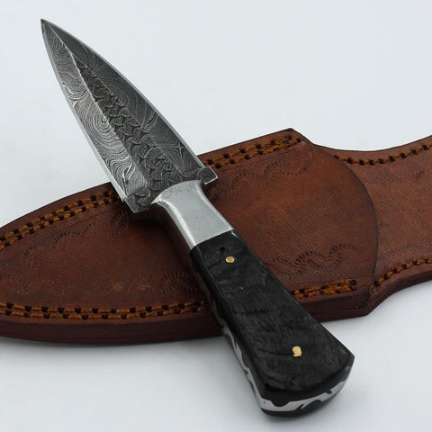 HARLENE Custom handmade Damascus steel dagger with buffalo horn handle