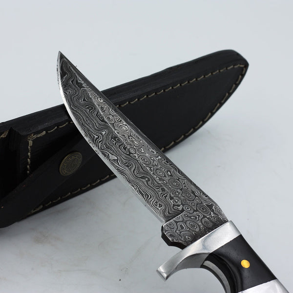 HARRIET Handmade Damascus Steel Sub-Hilt Hunting Knife with buffalo horn handle