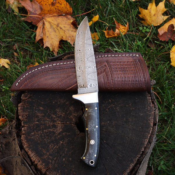 HAYLEY Custom handmade Damascus steel hunting knife with mosaic pattern and micarta handle