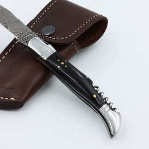 HOPE Handmade Damascus steel corkscrew knife with horn handle