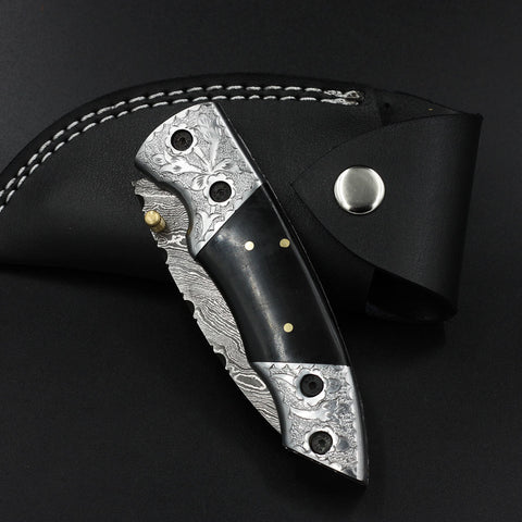 IMOGEN Handmade Damascus Pocket Knife (with Genuine Leather Sheath)