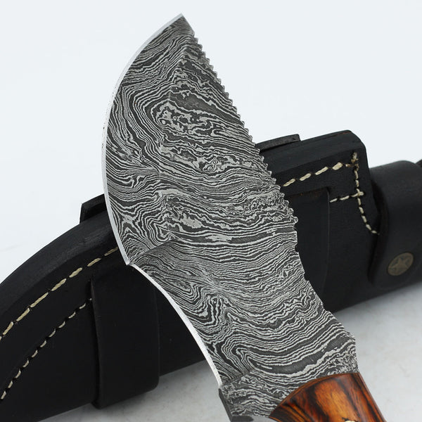 JANA Custom Handmade Damascus steel tracker knife with olive wood handle