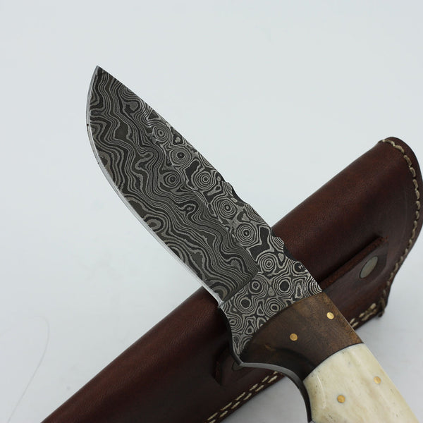 JANELLE Handmade Damascus Hunting Knife with walnut wood and camel bone handle