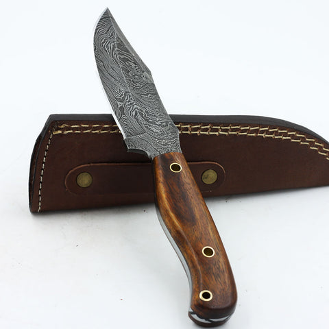 KASSIE Custom Handmade Damascus steel hunting knife with rosewood handle