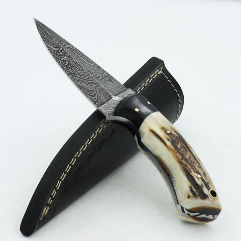 KAT Handmade Double-edged Damascus steel stag horn hunting knife