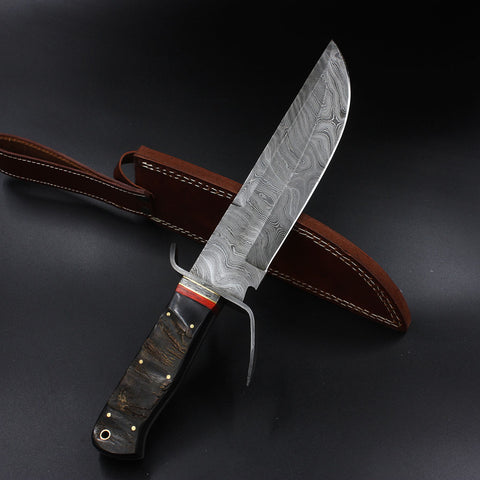 KAY Handmade Damascus Bowie Knife (with Genuine Leather Sheath)