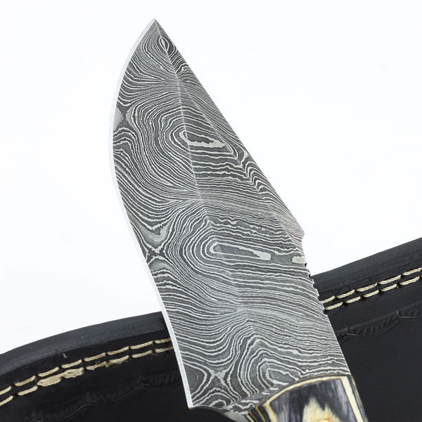 KELLEY Custom Handmade Damascus steel hunting knife with olive wood handle