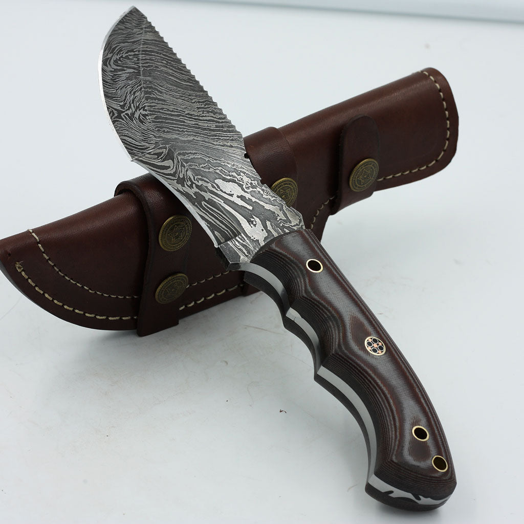 KITTY Handmade Damascus steel tracker knife with micarta handle