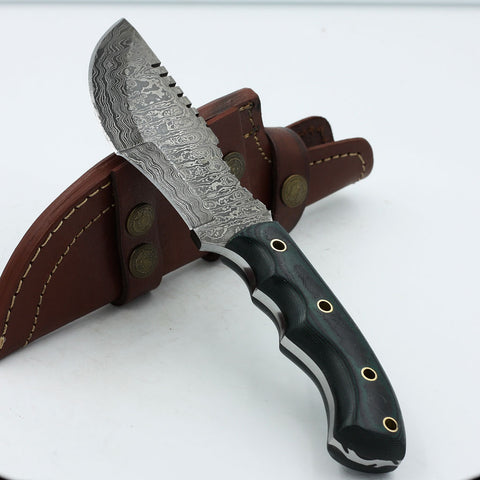 LACEY Handmade Damascus steel tracker knife with micarta handle