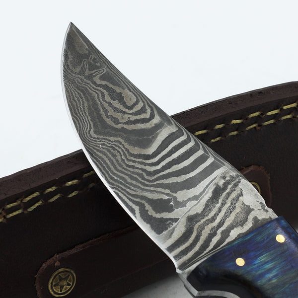 LAURA Custom Handmade Damascus steel hunting knife with olive wood and rosewood handle