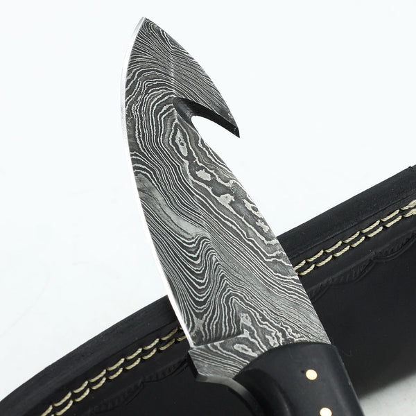 LAUREN Handmade Damascus steel gut hook hunting knife with micarta handle