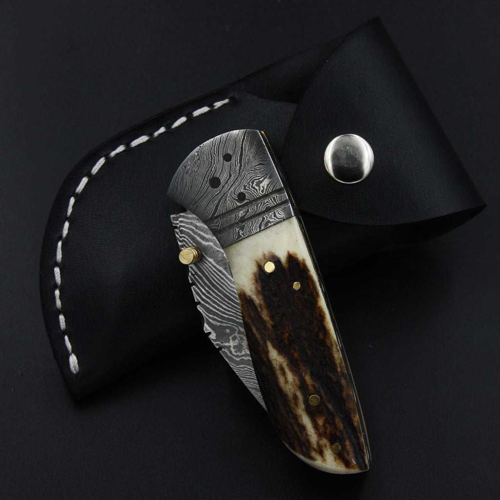 LAYLA Handmade Pocket Knife (with Genuine Leather Sheath)