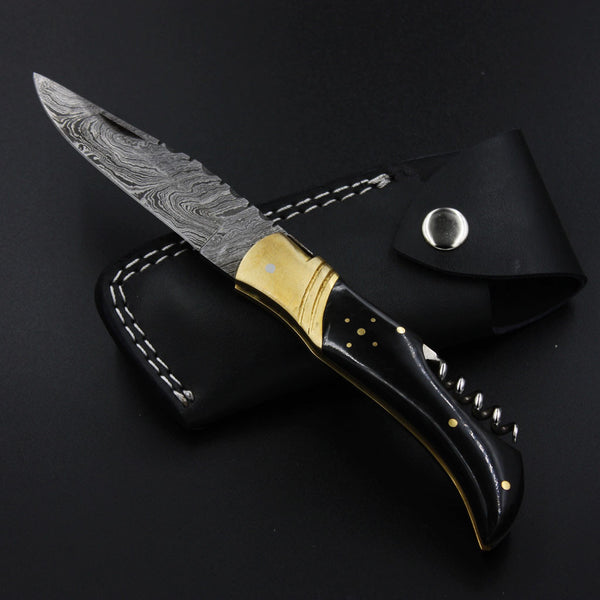 LUCILLE Handmade Damascus Corkscrew Pocket Knife (with Genuine Leather Sheath)
