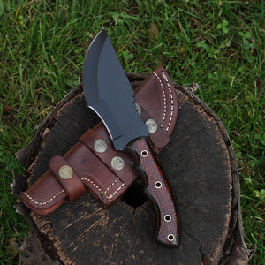 LULAMAE Handmade Tracker Knife with 1095 high carbon steel and micarta handle