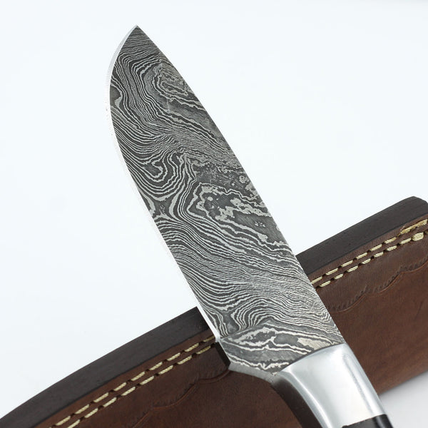 MACY Handmade Damascus Steel Outdoor Knife (Leather Sheath Included)