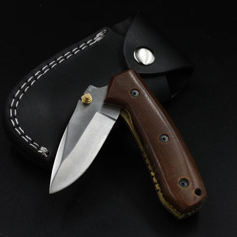 MAGGIE Handmade Stainless Steel Pocket Knife (with Genuine Leather Sheath)