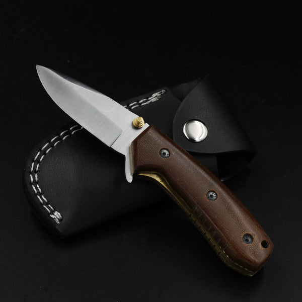 Handmade Stainless Steel D2 Pocket Knife Brown Micarta Folding Knives Military Police Everyday Carry Outdoor Camping Blade with Pocket Clip