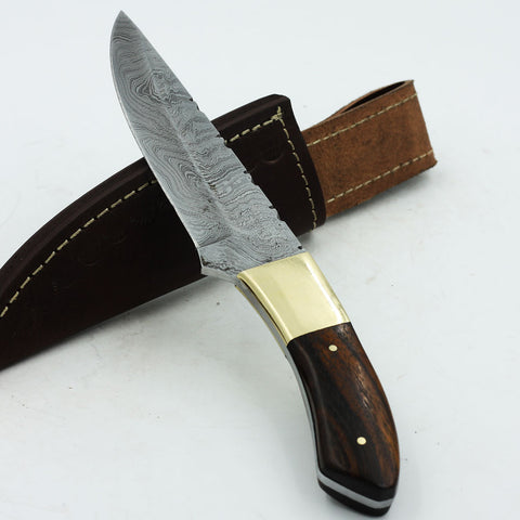 MARIA Custom handmade Damascus steel hunting knife with rosewood handle and brass bolster